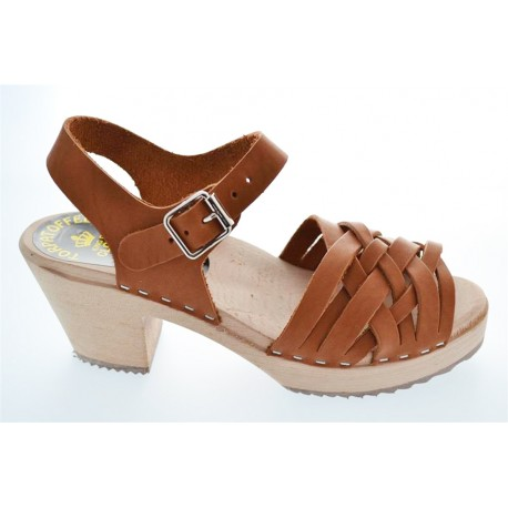 Sandales suédoises à lanières couleur brun