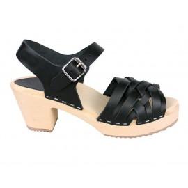 Sandales suédoises à lanières couleur noir