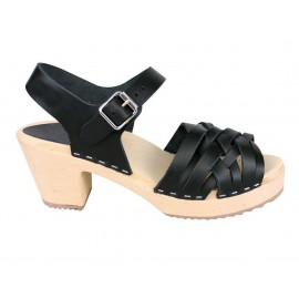 "SWEDISH ""BELT SANDALS"" TBLACK LEATHER"