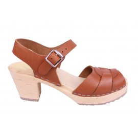 "SWEDISH SANDALS ""PEEP TOE"" TAN LEATHER"