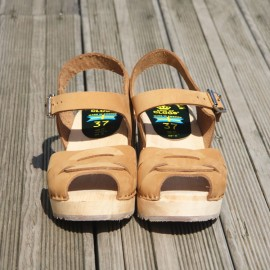 "SWEDISH SANDALS ""PEEP TOE"" SAND NUBUCK"