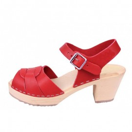 "SWEDISH SANDALS ""PEEP TOE"" 7 cm - RED-CHERRY LEATHER"