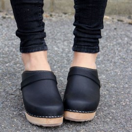 SWEDISH CLOGS BLACKLEATHER