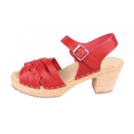 Sandales suédoises à lanières couleur rouge