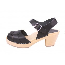 "SWEDISH SANDALS ""PEEP TOE"" BLACK LEATHER"