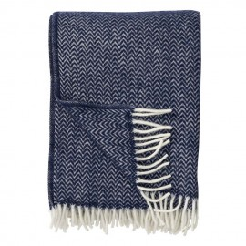 CHEVRON DARK DENIM ECO LAMBS WOOL THROW KLIPPAN YLLEFABRIK