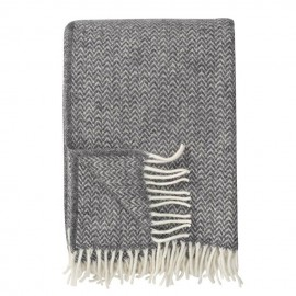 CHEVRON GREY ECO LAMBS WOOL THROW KLIPPAN YLLEFABRIK