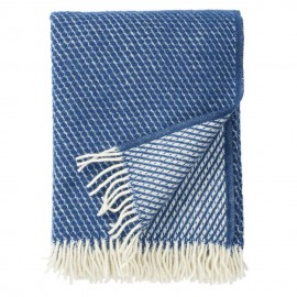 VELVET PETROL BLUE LAMBS WOOL THROW KLIPPAN YLLEFABRIK