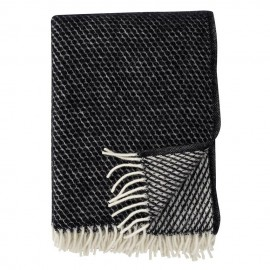 VELVET BLACK LAMBS WOOL THROW KLIPPAN YLLEFABRIK