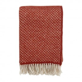 LUXOR TERRACOTTA-RED LAMBS WOOL THROW KLIPPAN YLLEFABRIK