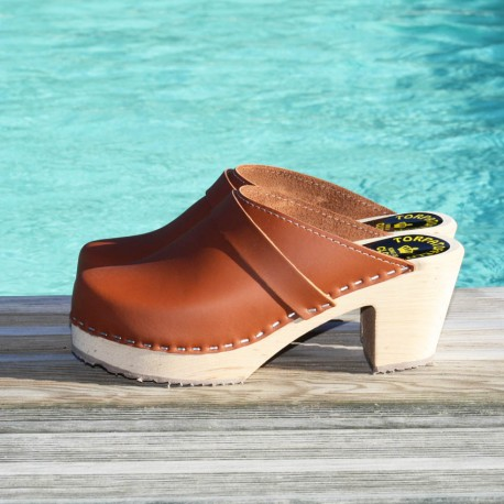 SWEDISH CLOGS BROWN LEATHER