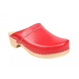 SWEDISH CLOGS GENUINE, RED LEATHER