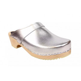 SWEDISH CLOGS GENUINE, SILVER LEATHER