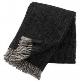 BJORK BLACK WOOL THROW KLIPPAN YLLEFABRIK
