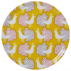 LARGE ROUND TRAY PEACOCK YELLOW KLIPPAN BENGT AND LOTTA