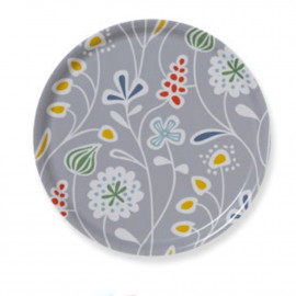 ROUND TRAY FLOWER MEADOW grey KLIPPAN BENGT AND LOTTA