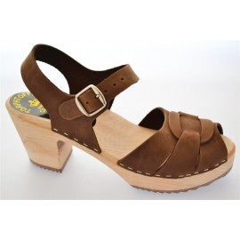 "SWEDISH SANDALS ""PEEP TOE"" BROWN NUBUCK"