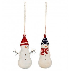 TWO METAL SNOWMANS ORNAMENTS MAILEG