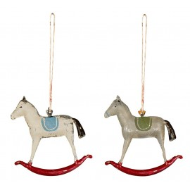 TWO METAL ROCKING HORSES ORNAMENTS MAILEG