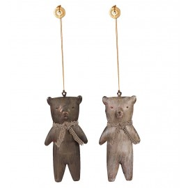 DEUX ORNEMENTS OURS TEDDY METAL MAILEG