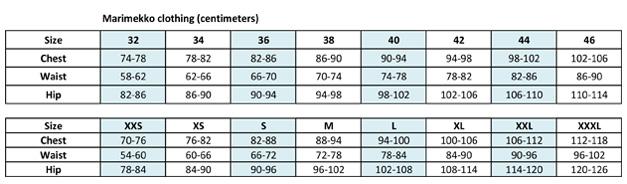 Marimekko clothing size chart