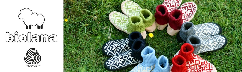 Chaussons de chalet Biolana Litha pure laine